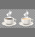 two hot cups of coffee with steam on saucers vector image vector image