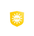 uva protection icon sun and shield vector image vector image
