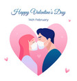 valentines day with kissing lovers vector image vector image