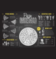 vintage chalk drawing pizza menu design vector image vector image