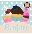 vintage cupcake poster design vector image vector image