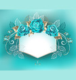 white banner with turquoise roses vector image vector image