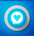 white heart in speech bubble icon isolated vector image