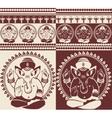 Indian god Ganesha yoga pattern vector image