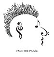 a creative musical face in profile vector image vector image