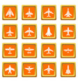 airplane top view icons set orange square vector image