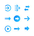 arrows set blue on white vector image