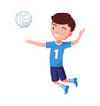boy volleyball player hit ball in a jump vector image vector image