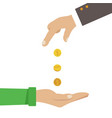 businessman hands giving money to another hands vector image