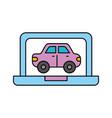 car in display laptop icon service diagnostic vector image