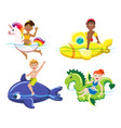 children and lifebuoys vector image vector image
