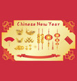 chinese new year card with chinese fan gold ingot vector image vector image