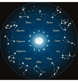Circle with zodiac constellations vector image vector image