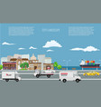 city on seaside landscape with cargo ship on the vector image vector image