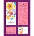 colorful oriental flowers vertical frame vector image vector image