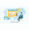competitor analysis concept with man on laptop vector image vector image
