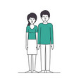 couple lovers with green clothes vector image