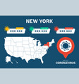 covid-19 new york state usa map confirmed cases vector image