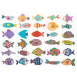 cute fish big set clipart bundle with underwater vector image