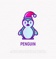 cute penguin in christmas hat vector image
