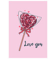 cute valentine s day card with heart shaped vector image