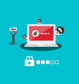 data security concept with password locked laptop vector image vector image