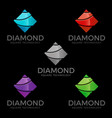 diamond - stylish diamond logo with square concept vector image