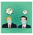 donald trump meet joko widodo wearing healthy mask vector image vector image