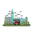 doodle london urban bus and nice cityscape vector image vector image