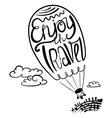 Enjoy travel callygraphic text in air balloon silh vector image vector image