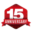 Fifteen year anniversary badge with red ribbon vector image