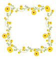 floral square wreath decoration with yellow vector image