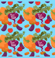 fresh vegetables farming seamless pattern vector image