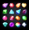gems cartoon jewelry stones for game achievement vector image
