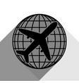 globe and plane travel sign black icon vector image vector image