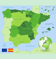 green administrative map spain vector image vector image