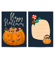 halloween party invitations with scary pumpkin vector image vector image