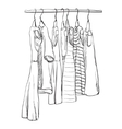 Hand drawn wardrobe sketch Dress vector image vector image