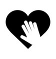 heart love hand support charity pictograph vector image vector image