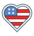 heart shaped usa flag united state independence vector image