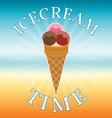 Icecream on blurred beach background Icecream time vector image