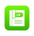 law book icon digital green vector image