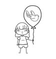 line beauty girl with balloon design in the hand vector image vector image