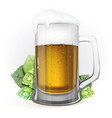 mug of beer and hops with leaves vector image