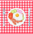 omelet with bacon and vegetables vector image