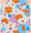 orange cosmos flowers with geometric shapes of vector image