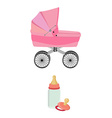 Pink baby carriage bottle and pacifier vector image vector image