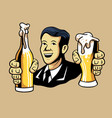 retro man offering beer vector image