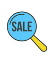 sale word magnifying glass vector image vector image