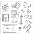 set objects and symbols on cinema theme vector image vector image